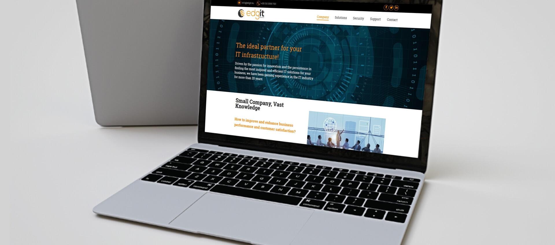 Edgit website seen from a laptop