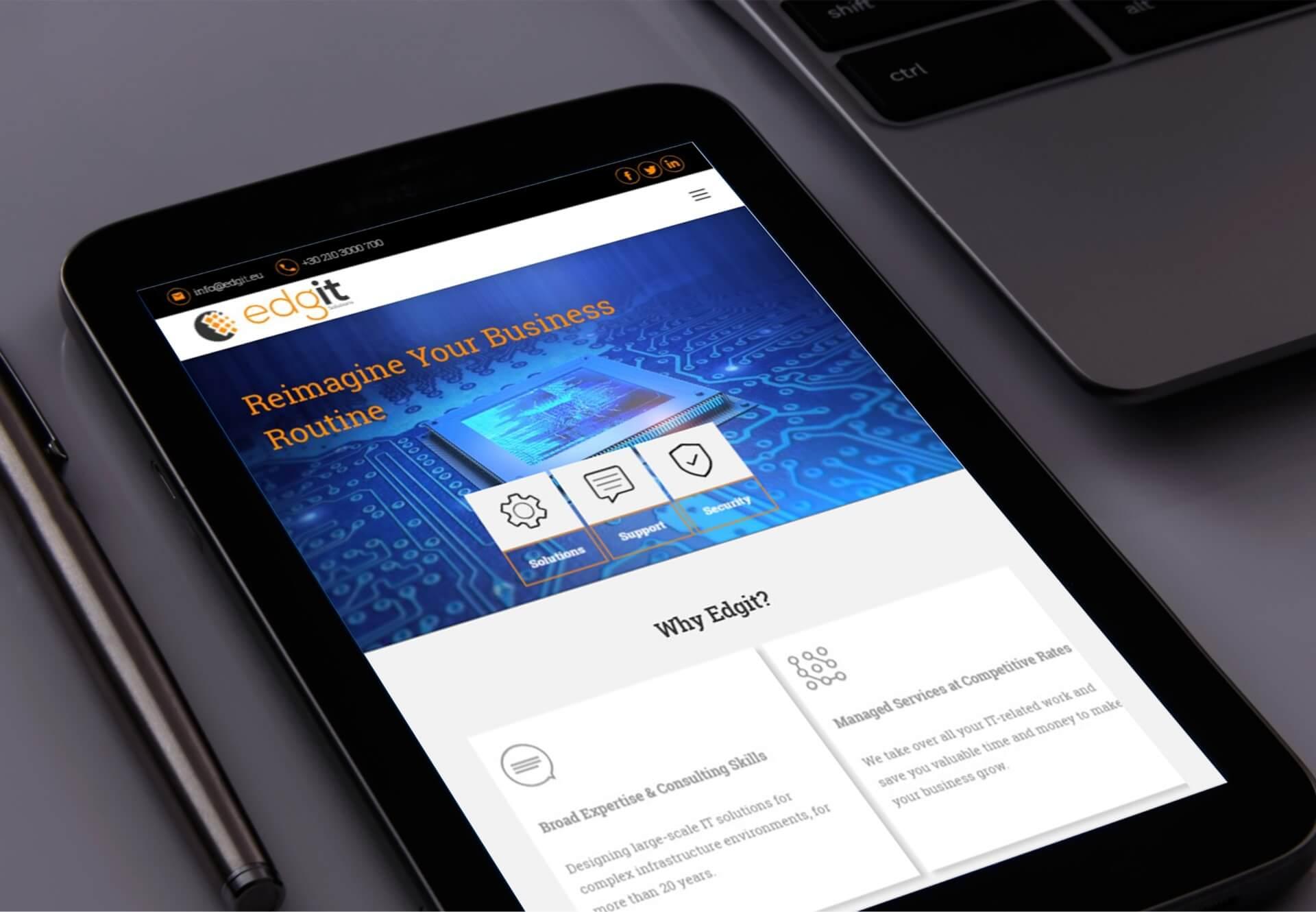 Edgit website seen from a tablet