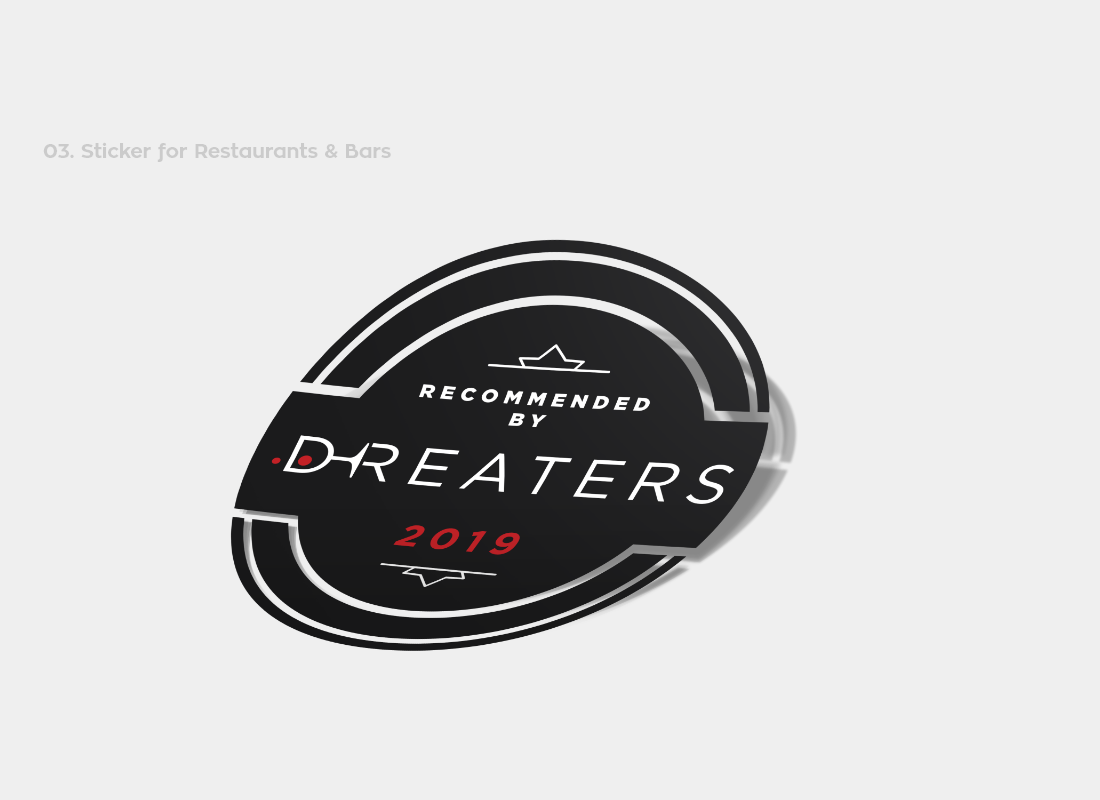 Dreaters sticker for restaurants and bars